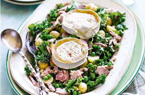 ham potato kale and goats cheese salad (H)