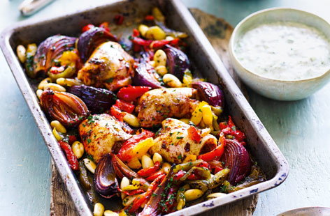 Harissa chicken bake with tzatziki (TN)