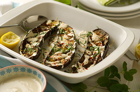 (t)baked aubergines with garlic yoghurt TESCO