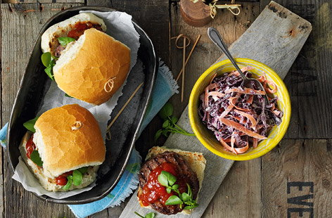 Burgers with horseradish slaw and watercress recipe