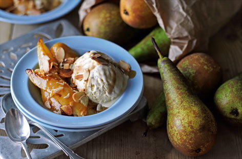 (t)pan fried pears with salted caramel sauce Tesco Real Food