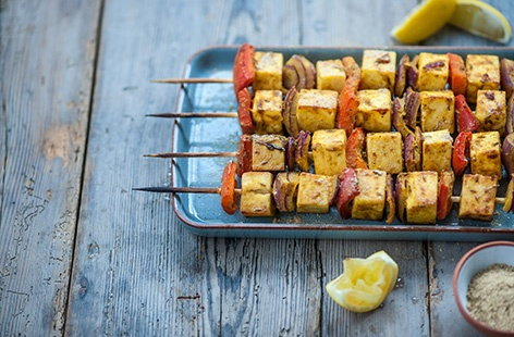 Alfred Prasad's paneer and red pepper skewers