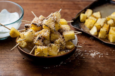 William Drabble's pineapple kebabs with lime crème fraîche and toasted coconut