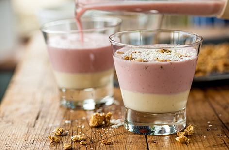 (h)rhubarb smoothie topped with custard and granola Great British Chef TESCO