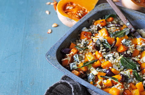 Roast butternut squash with pearl barley, gorgonzola and sage