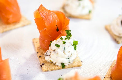 Horseradish and caper cream cheese with smoked salmon