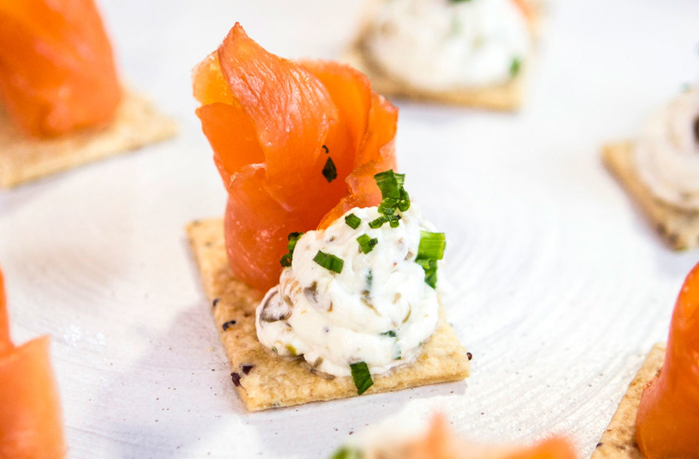 Horseradish and caper cream cheese with smoked salmon for Canape with cheese