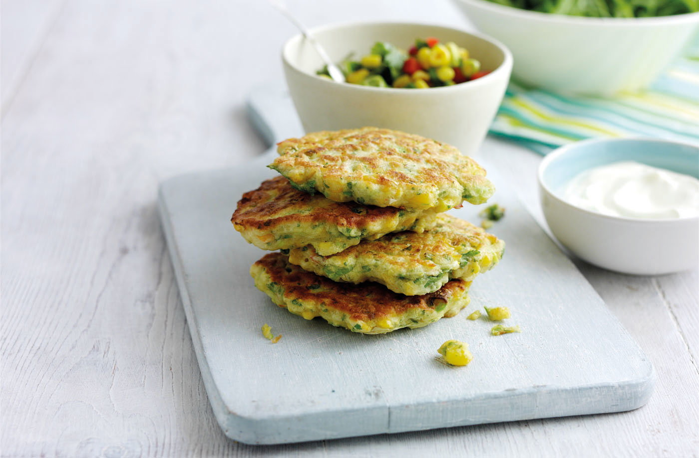 Sweetcorn fritters with avocado salsa recipe