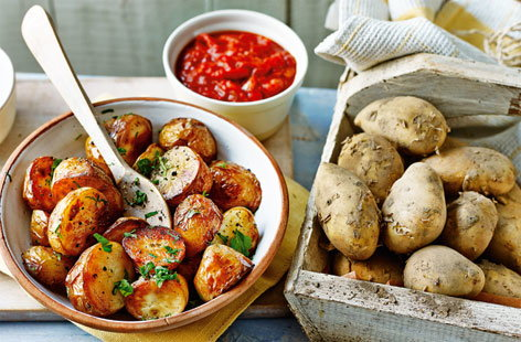 Spanish tapas isn't complete without potatoes. Enjoy these saucy and spicy Jersey Royals as a part of a tapas feast or as a side dish.