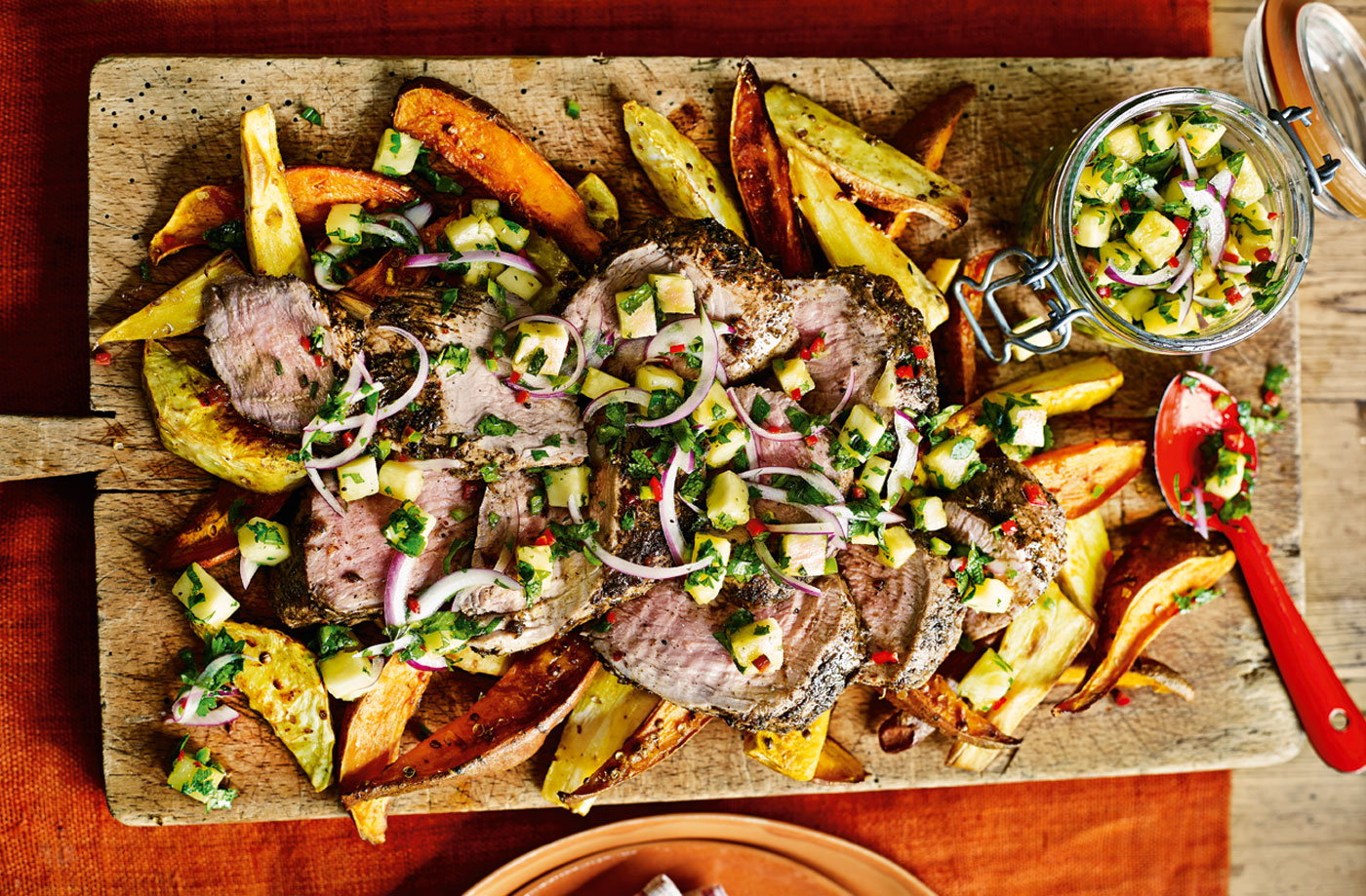 Jerk-spiced pork with pineapple salsa recipe