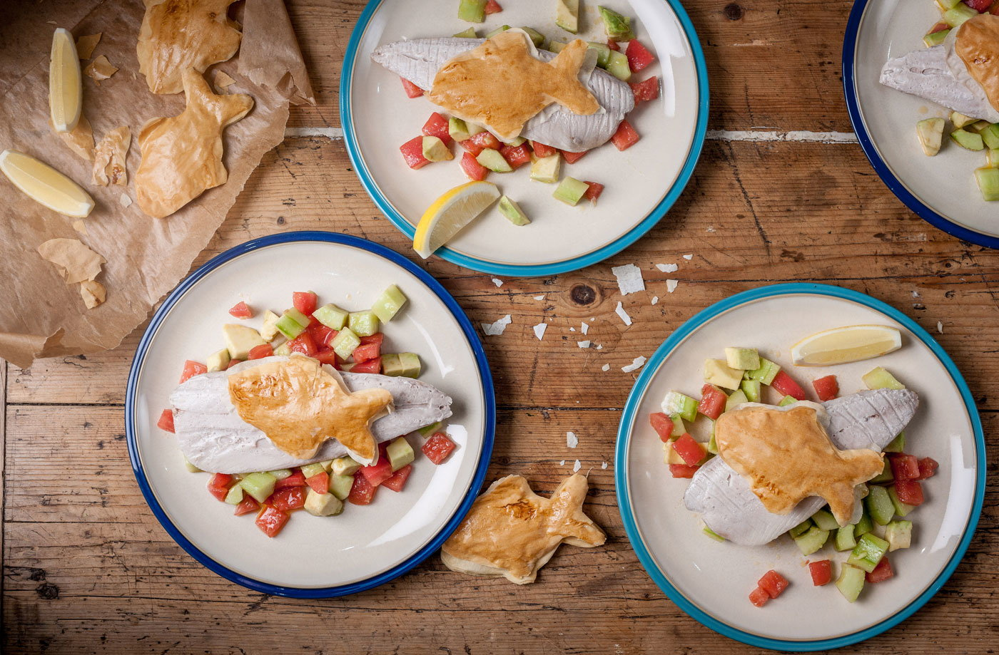 William Drabble's baked mackerel with salsa and fishy crisps recipe