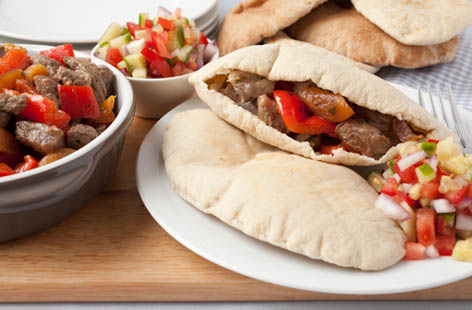 lamb pittas with salso