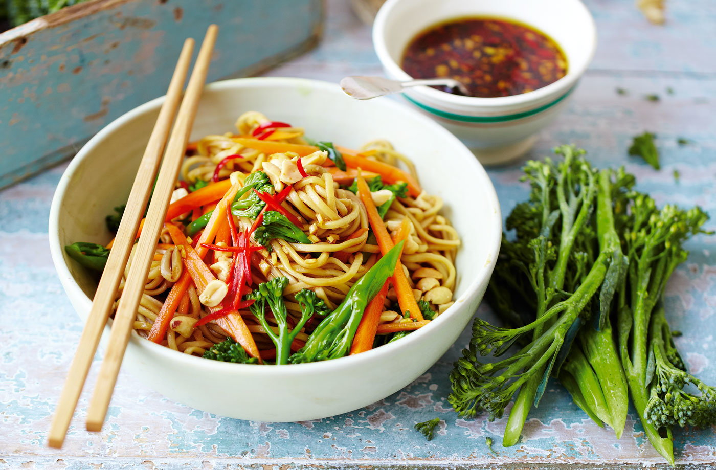 Broccoli noodles with soy, lime and chilli dressing recipe