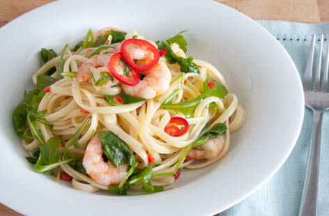 linguine with king prawns chilli and rocket 1