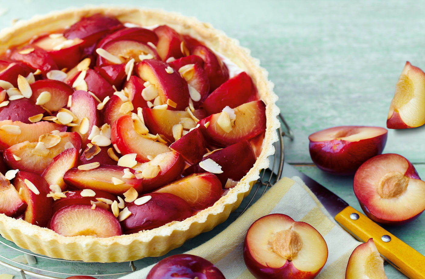 Plum And Mascarpone Pie Recipe — Dishmaps