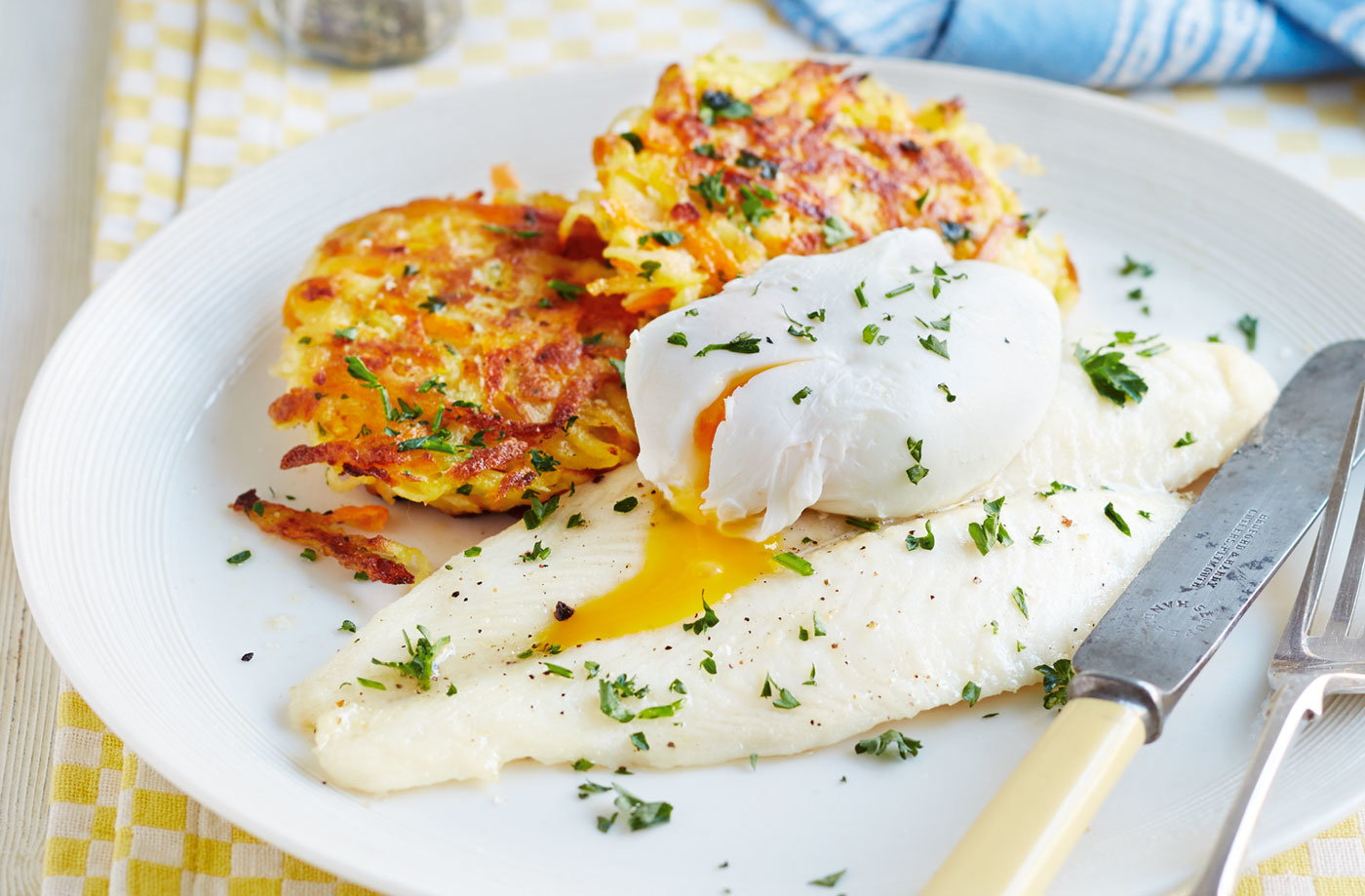 Root veg rösti with fish & egg recipe