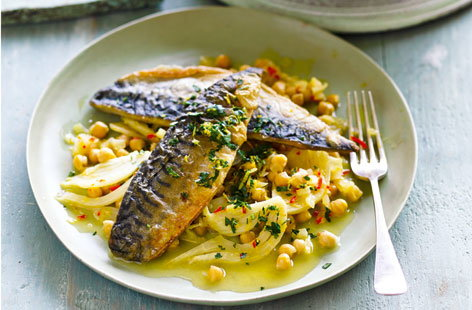 Mackerel with citrus chickpeas