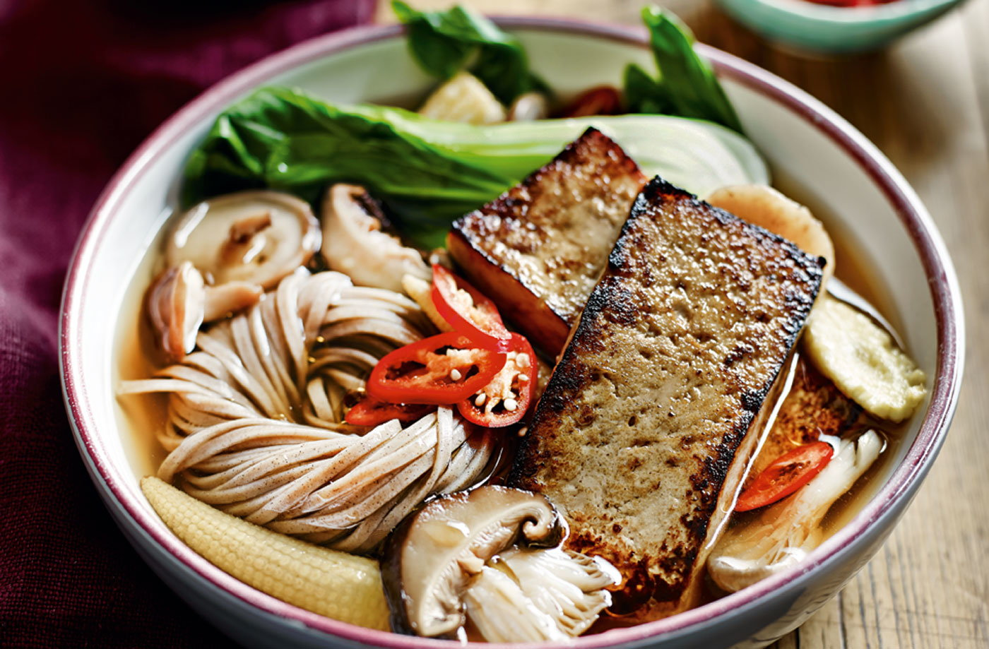 Marinated tofu and vegetable ramen
