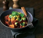 Mexican chicken stew with toasted corn salsa