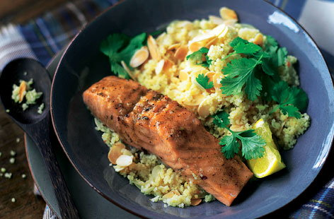 Dinner ideas for two romantic meals tesco real food moroccan style salmon with lemony couscous forumfinder Gallery