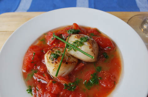 pan fried scallops w spiced tomatoes
