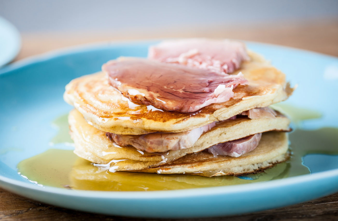 Adam Gray's pancakes with ham and maple syrup  recipe