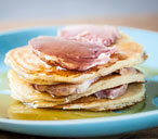 Adam Gray's pancakes with ham and maple syrup