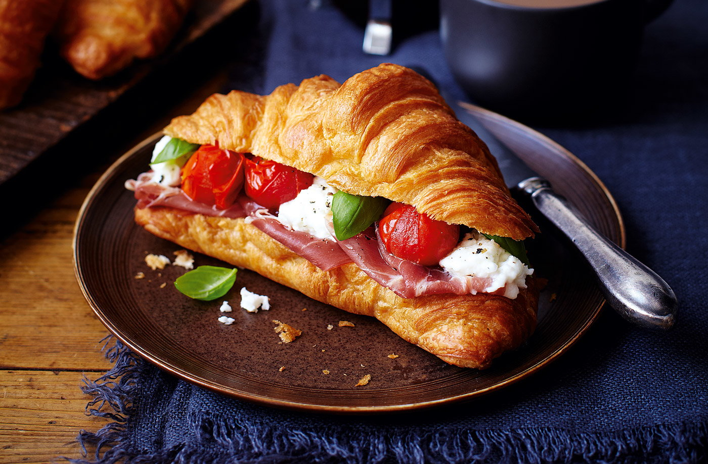 Tesco Finest Parma ham, mozzarella and roast cherry tomato croissants