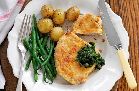 Parmesan-crusted pork steaks