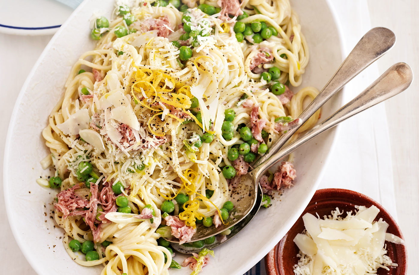 Ham and pea carbonara recipe pasta recipes tesco real food ham and pea carbonara recipe forumfinder Images