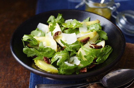 Salads get a bad rep: they don't have to be boring (and usually aren't!). This delicious dish – which makes a great starter – combines Parmesan, pear, pecan and rocket with a gorgeous homemade honey and mustard dressing.