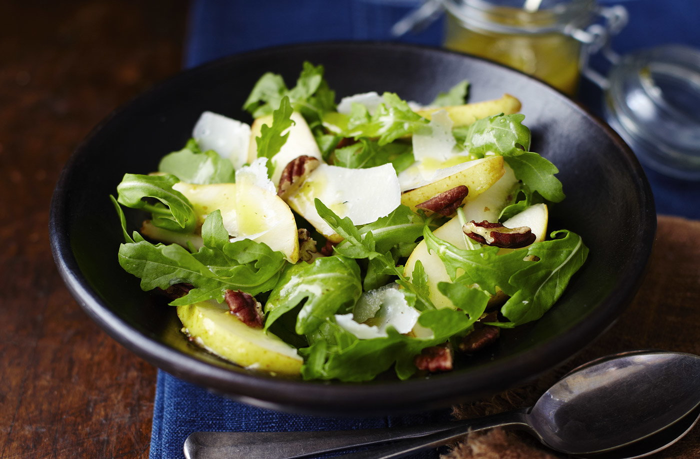 Tesco Finest shaved parmesan, pear, pecan and rocket salad with a honey-mustard dressing