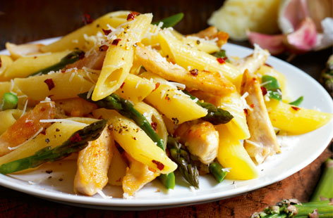 Gluten-free chicken and asparagus penne recipe