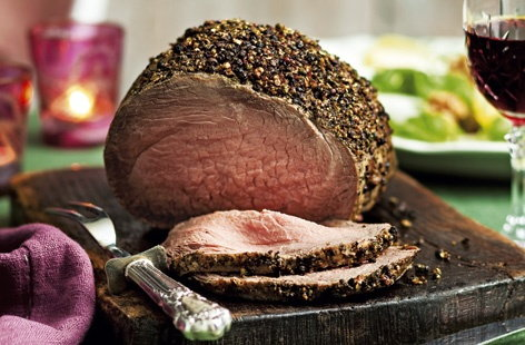 Peppered roast beef