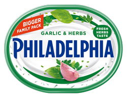 Philadelphia Garlic & Herbs Soft CheeseMade with milk and real cream and packed with Garlic & Herbs