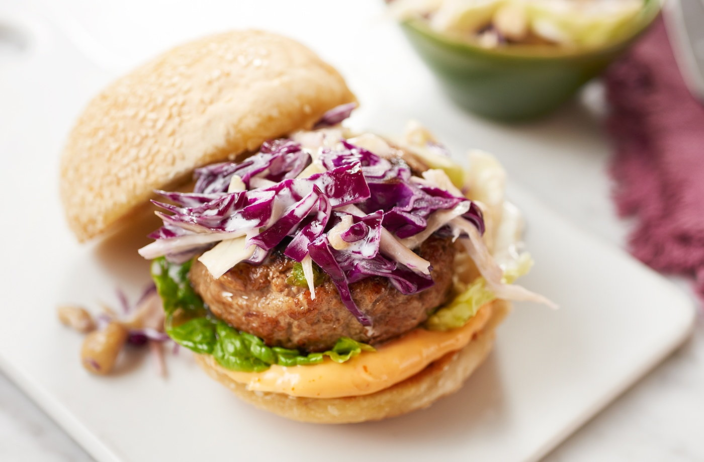 Gingery Pork Burgers with Asian Slaw | Pork Recipes | Tesco Real Food