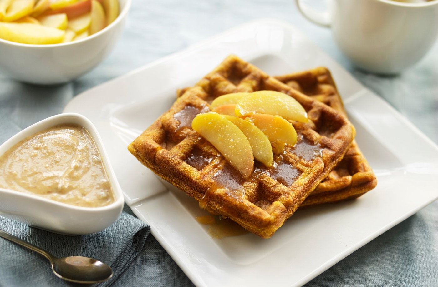Pumpkin and cinnamon waffles with caramelised apple yogurt  recipe