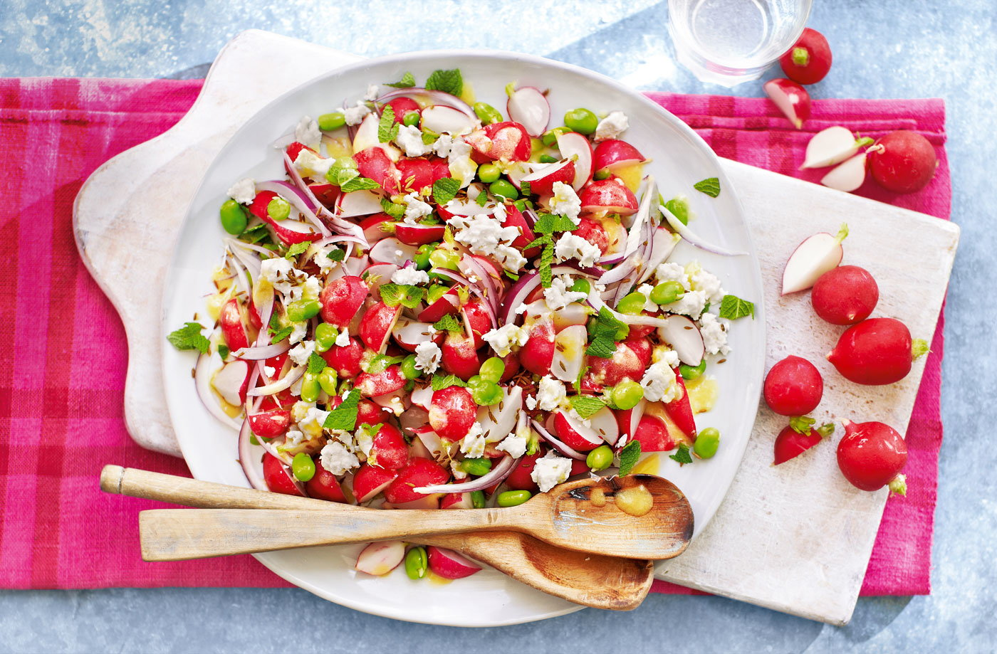 Radish, broad bean and feta salad