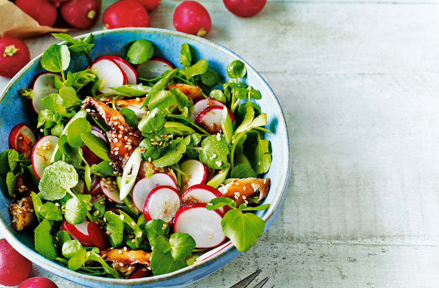 Radish and smoked mackerel salad