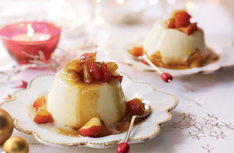 Cinnamon panna cotta with caramelised apples recipe
