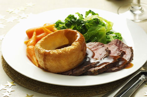 Roast beef, Yorkshire pudding and vegetables