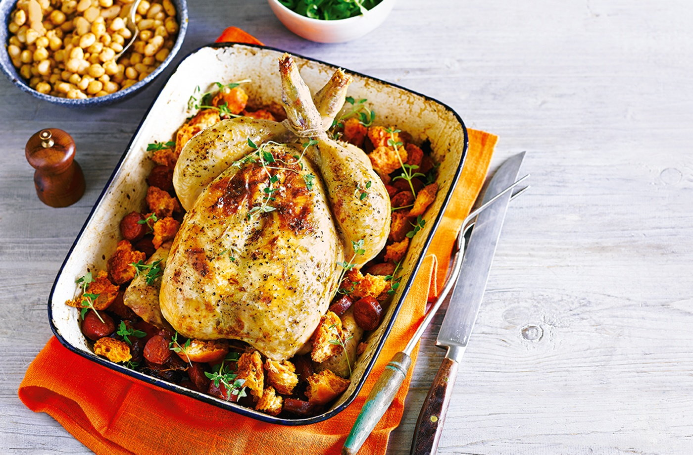Lemon and thyme roast chicken with chorizo and ciabatta croutons