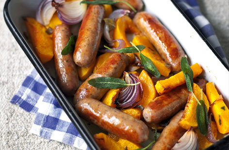 roast sausages with squash HERO
