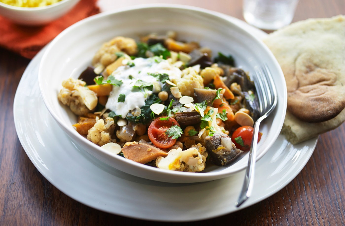 Roasted aubergine, vegetable and chickpea curry recipe