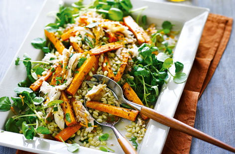 Roasted carrot, barley and smoked mackerel salad