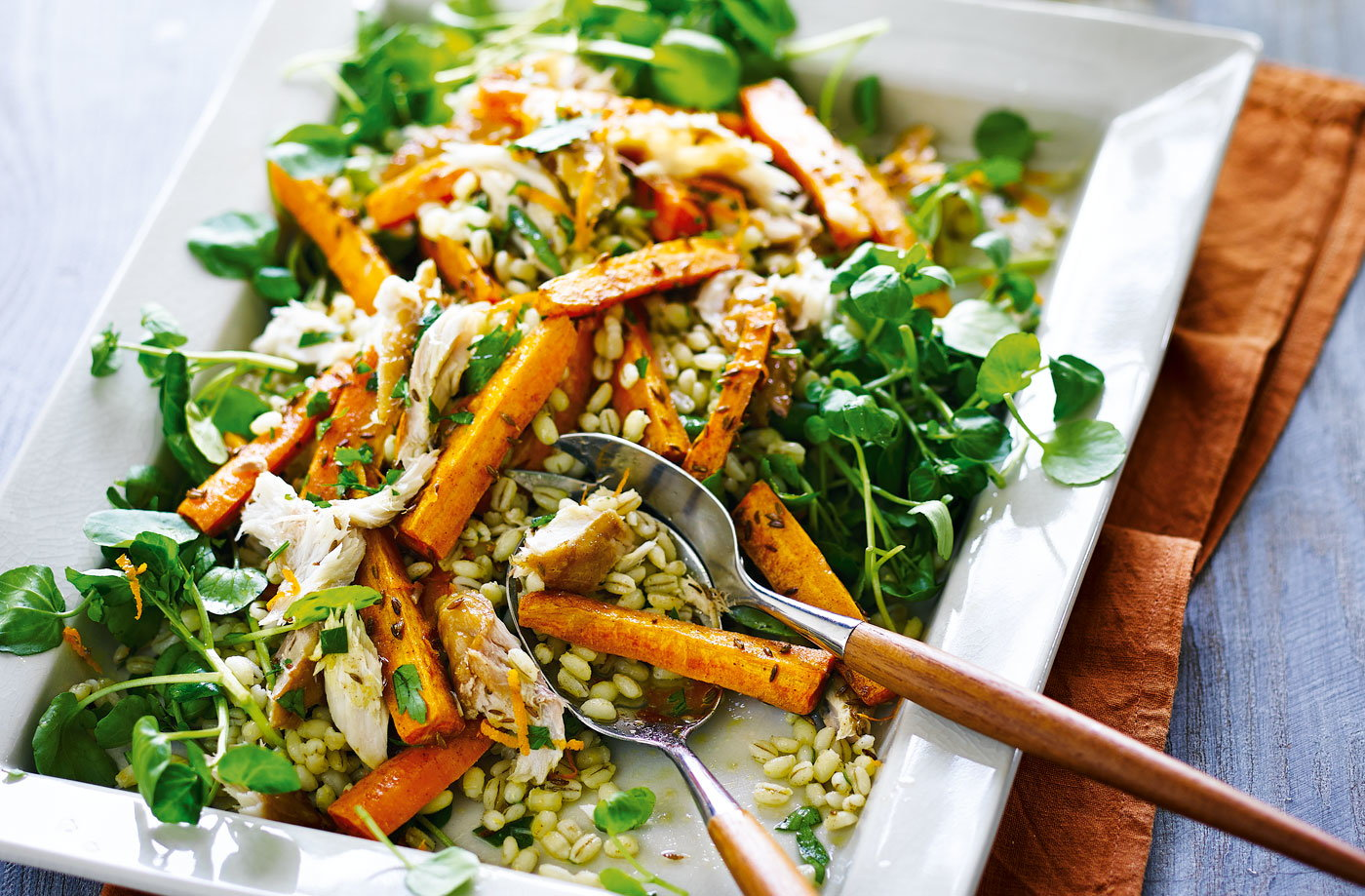Roasted carrot, barley and smoked mackerel salad recipe