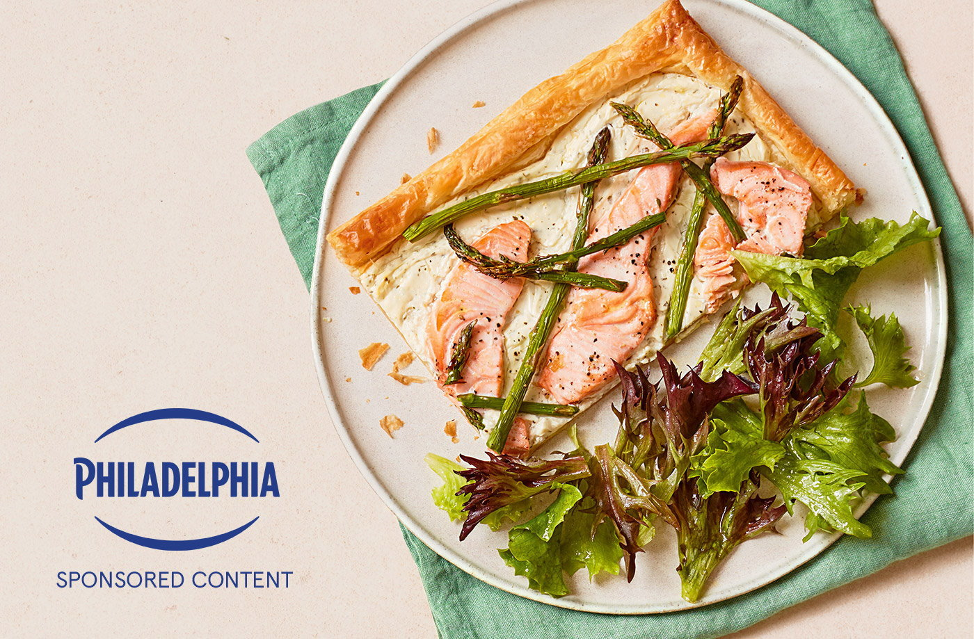Creamy Philadelphia Garlic & Herbs soft cheese lines the base of this quick and simple salmon and asparagus tart. It's an ideal – and effort-free – lunch option that makes the most of fresh produce