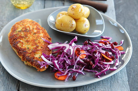Parmesan crumb chicken with winter slaw