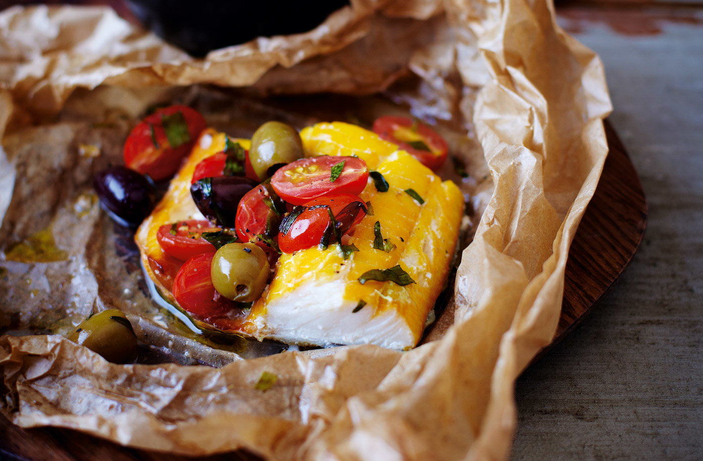 Tesco Finest smoked haddock parcels with cherry tomatoes and olives recipe