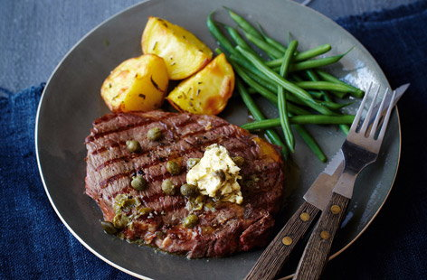 finest* griddled steak with caper butter, green beans and crisp Elfe potatoes